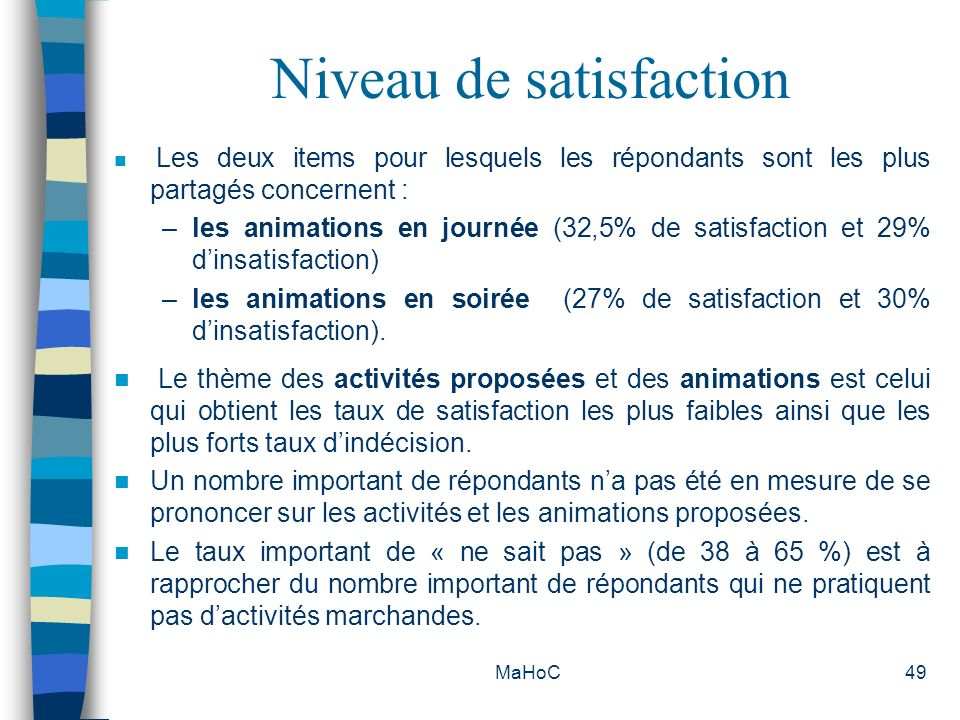 Niveau de satisfaction