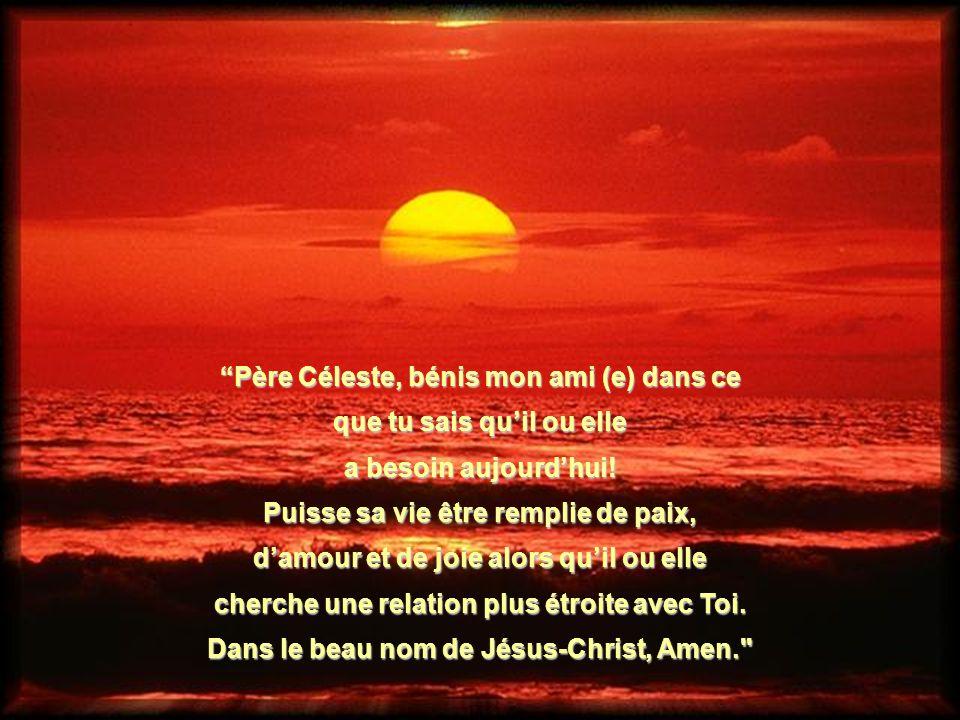 Père Céleste, bénis mon ami (e) dans ce que tu sais qu'il ou elle