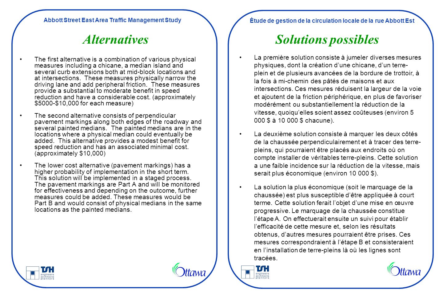 Alternatives Solutions possibles