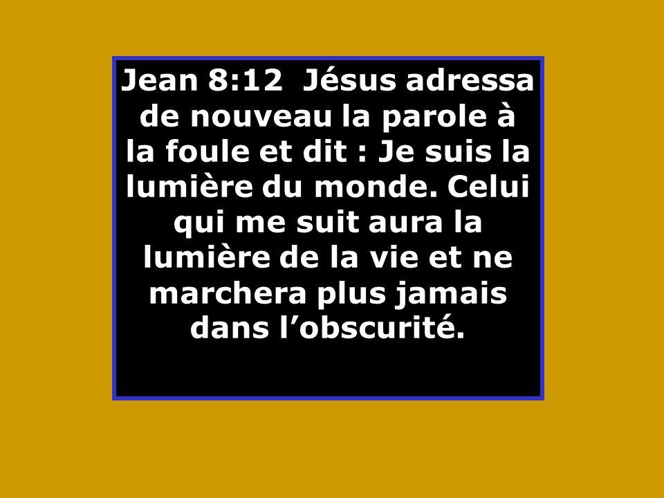Jean 8:12 Jésus adressa de nouveau la parole à la foule et dit : Je suis la lumière du monde.