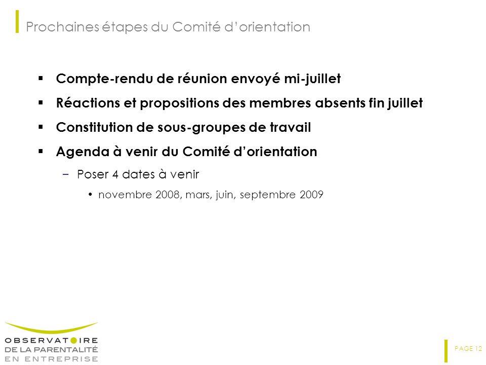 Prochaines étapes du Comité d'orientation