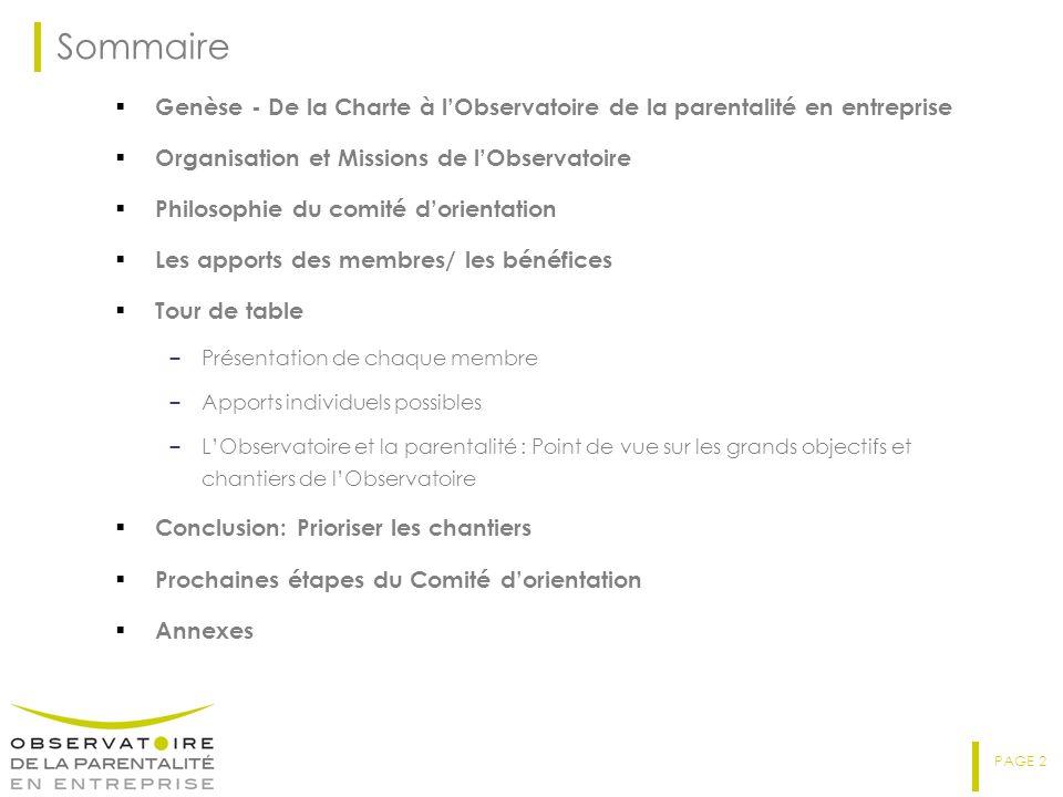 Sommaire Genèse - De la Charte à l'Observatoire de la parentalité en entreprise. Organisation et Missions de l'Observatoire.