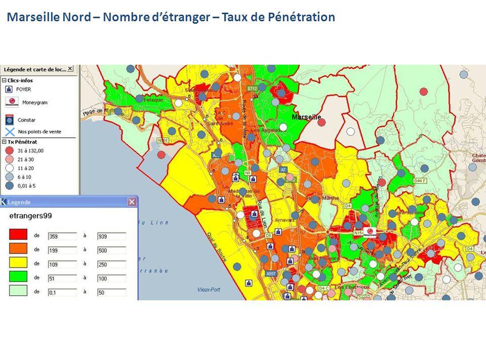 Marseille Nord – Nombre d'étranger – Taux de Pénétration