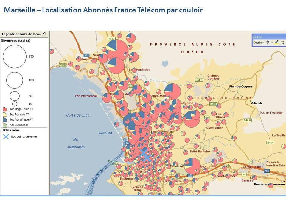 Marseille – Localisation Abonnés France Télécom par couloir