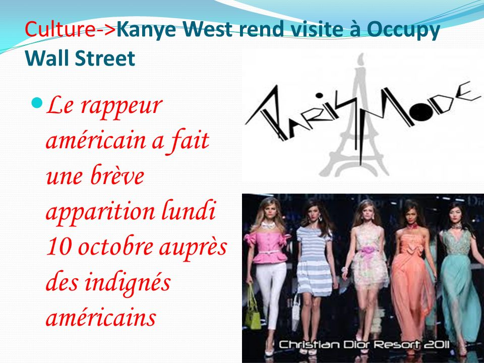 Culture->Kanye West rend visite à Occupy Wall Street