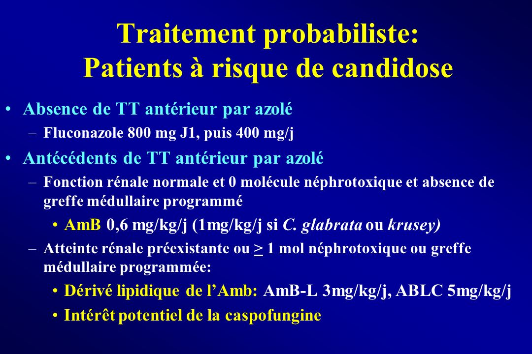 Traitement probabiliste: Patients à risque de candidose