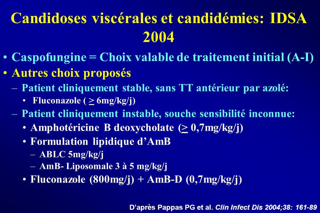 Candidoses viscérales et candidémies: IDSA 2004