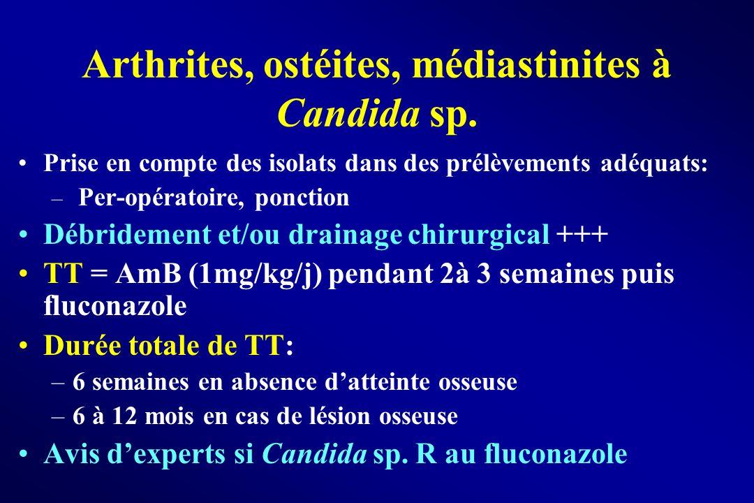 Arthrites, ostéites, médiastinites à Candida sp.