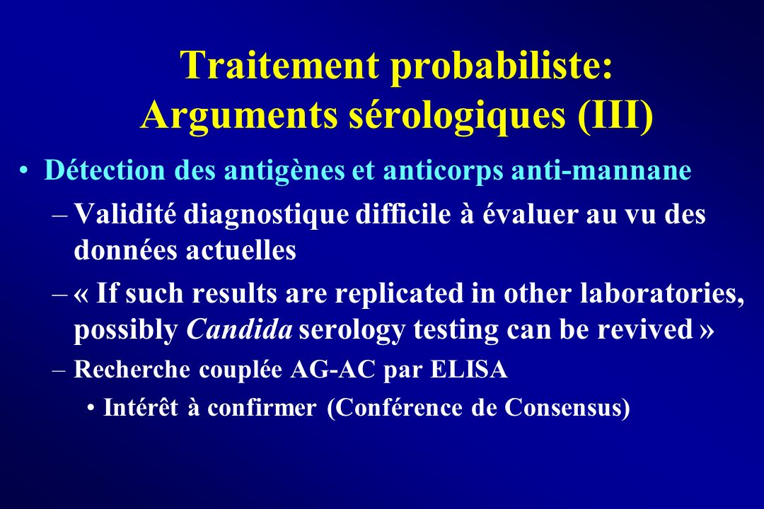 Traitement probabiliste: Arguments sérologiques (III)