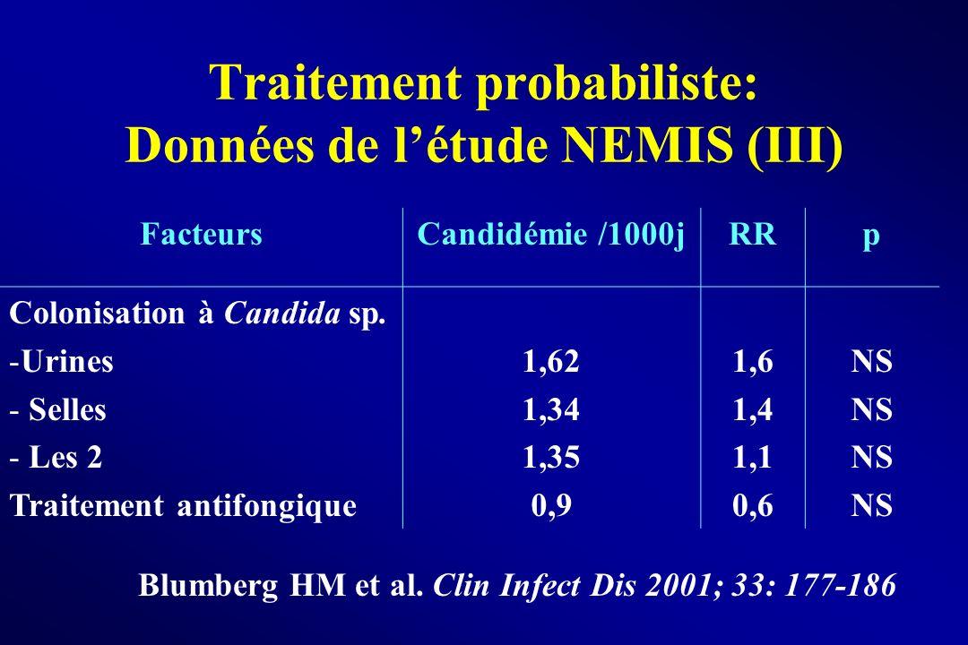 Traitement probabiliste: Données de l'étude NEMIS (III)