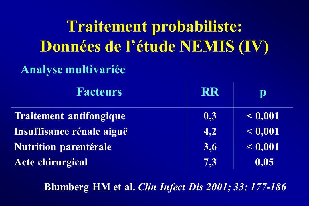 Traitement probabiliste: Données de l'étude NEMIS (IV)