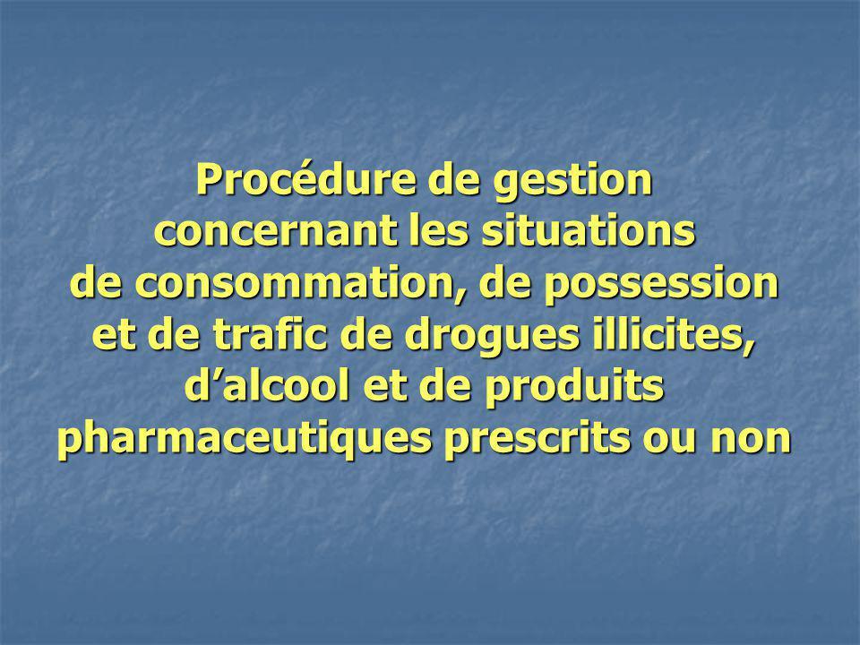 Procédure de gestion concernant les situations de consommation, de possession et de trafic de drogues illicites, d'alcool et de produits pharmaceutiques prescrits ou non