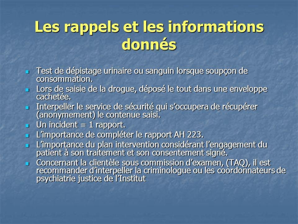 Les rappels et les informations donnés
