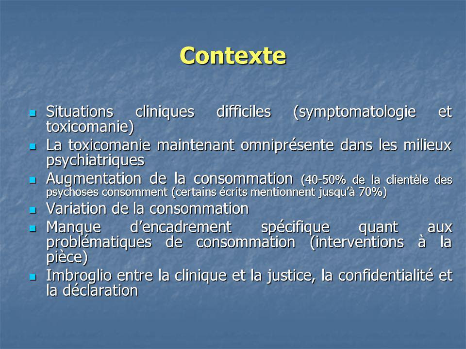 Contexte Situations cliniques difficiles (symptomatologie et toxicomanie) La toxicomanie maintenant omniprésente dans les milieux psychiatriques.