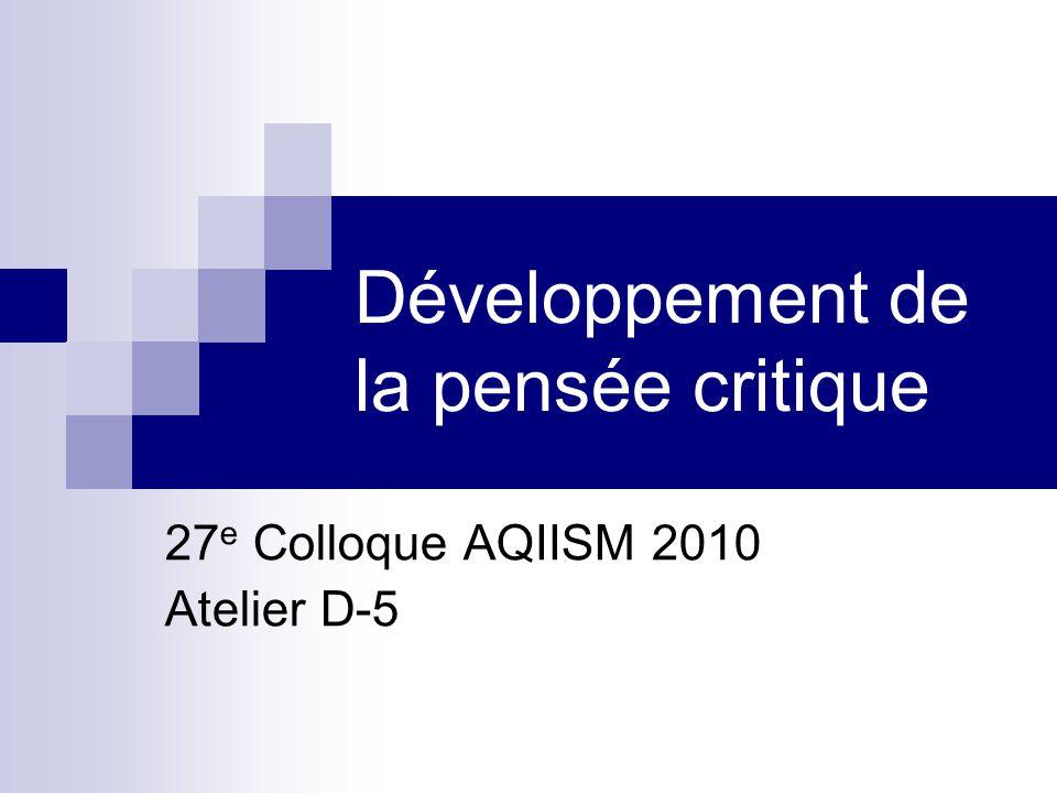 Développement de la pensée critique