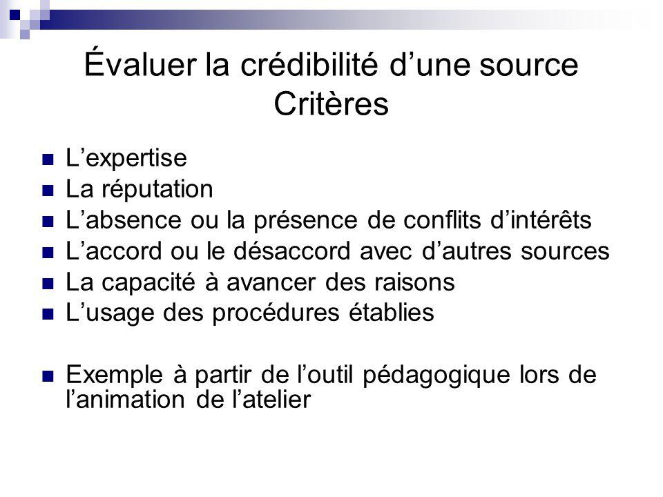 Évaluer la crédibilité d'une source Critères