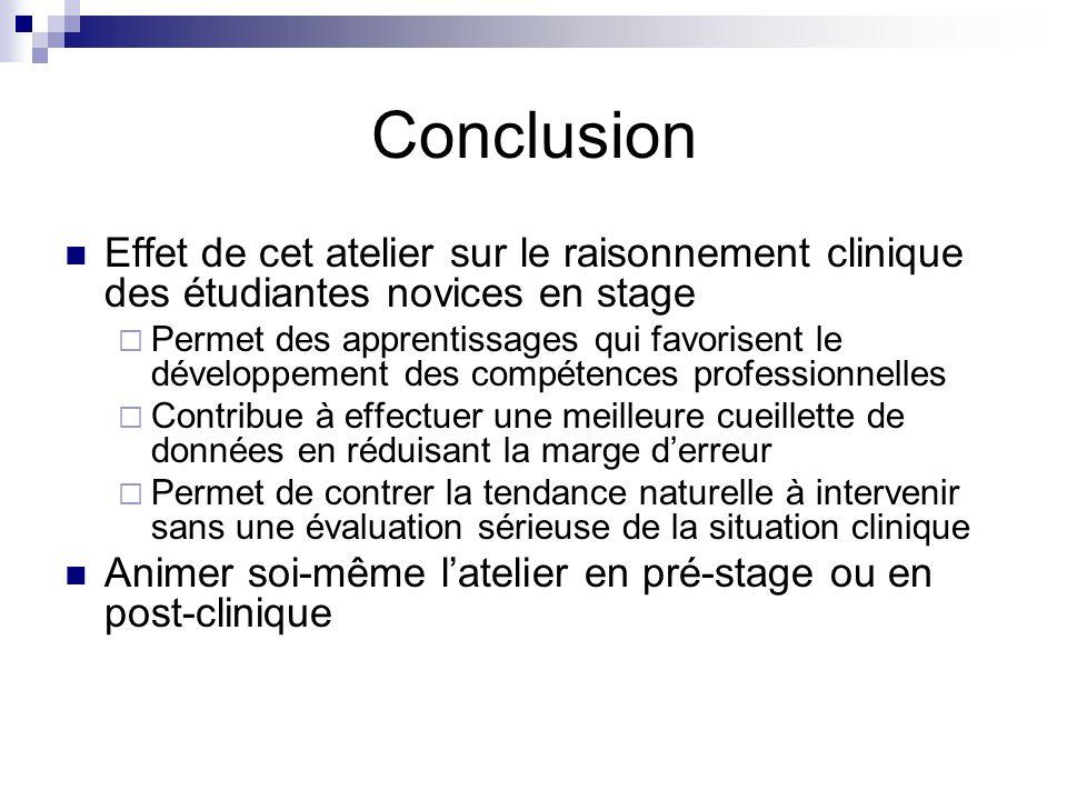Conclusion Effet de cet atelier sur le raisonnement clinique des étudiantes novices en stage.