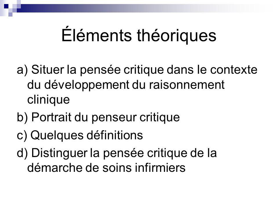 Éléments théoriques a) Situer la pensée critique dans le contexte du développement du raisonnement clinique.