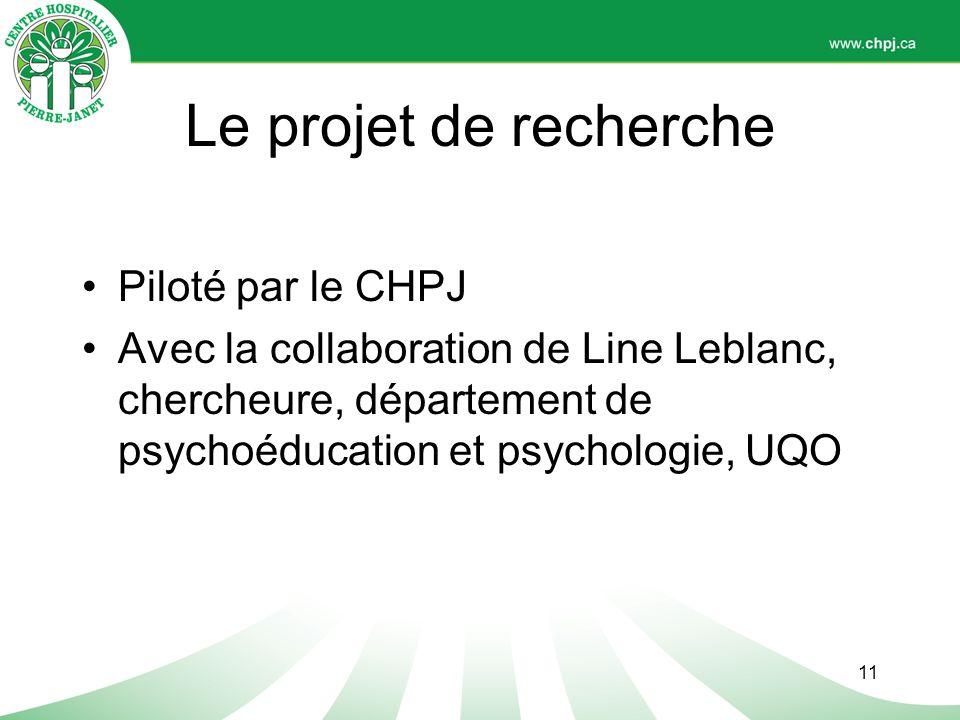 Le projet de recherche Piloté par le CHPJ
