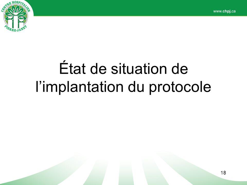 État de situation de l'implantation du protocole