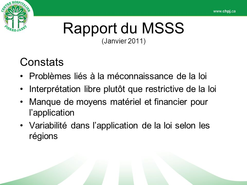 Rapport du MSSS (Janvier 2011)