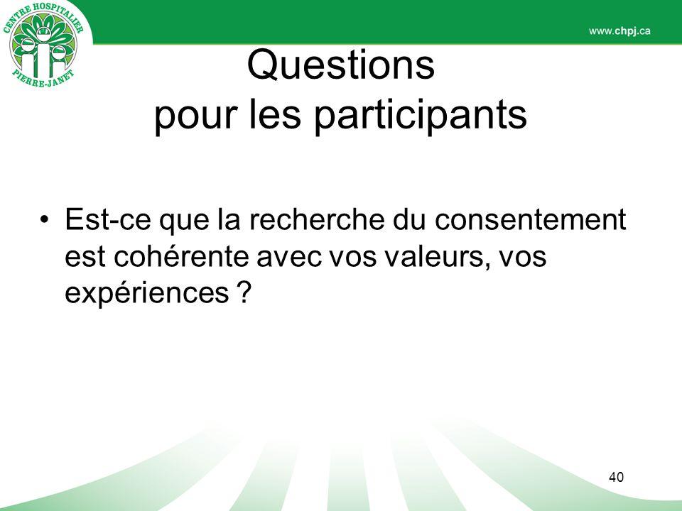 Questions pour les participants