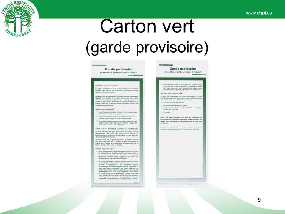 Carton vert (garde provisoire)