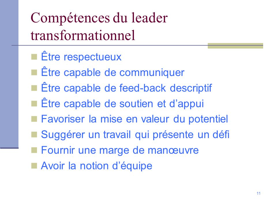 Compétences du leader transformationnel