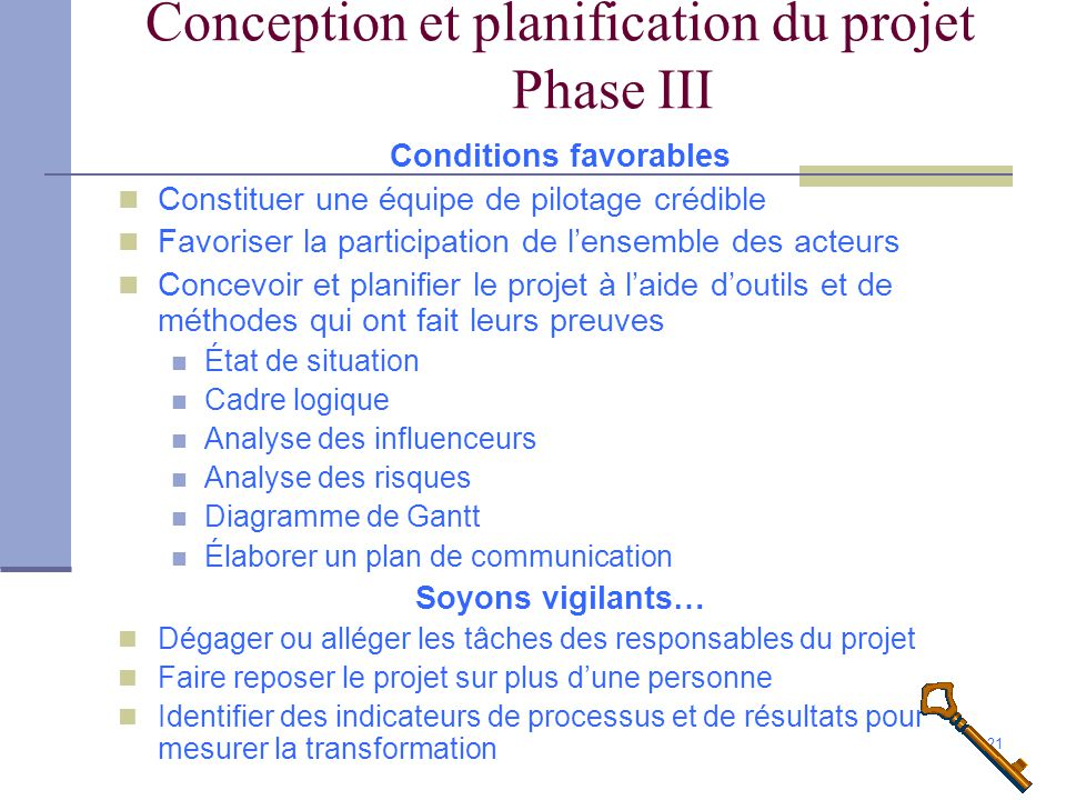 Conception et planification du projet Phase III