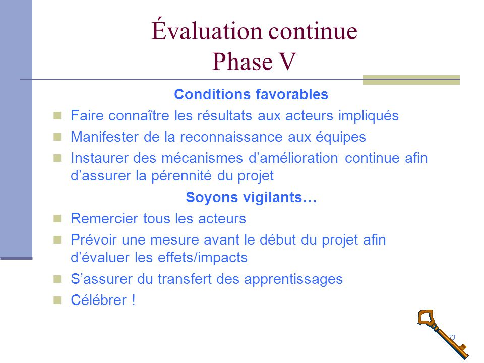 Évaluation continue Phase V