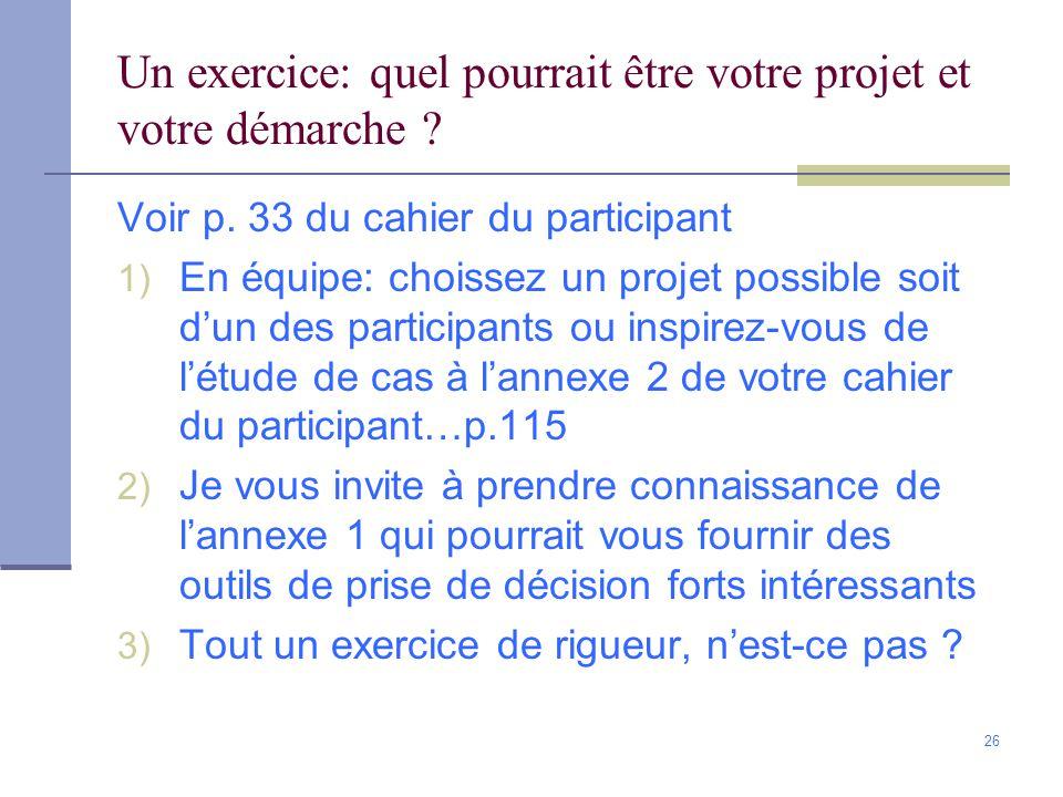 Un exercice: quel pourrait être votre projet et votre démarche
