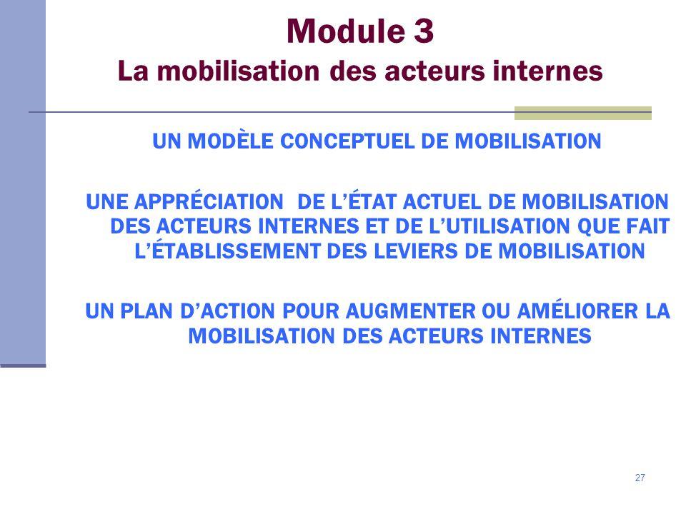 Module 3 La mobilisation des acteurs internes