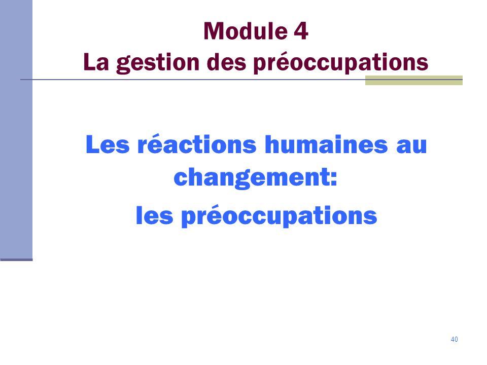 Module 4 La gestion des préoccupations