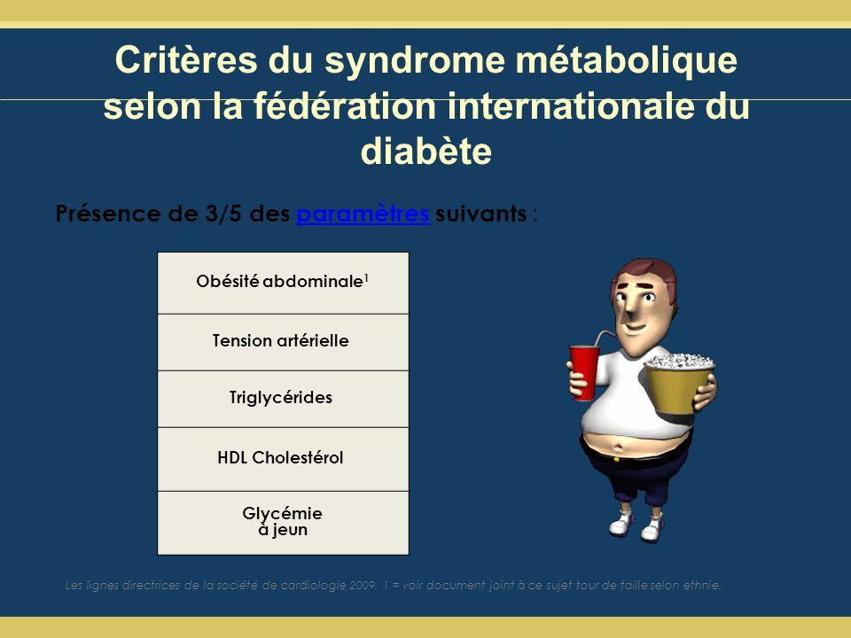 Critères du syndrome métabolique selon la fédération internationale du diabète