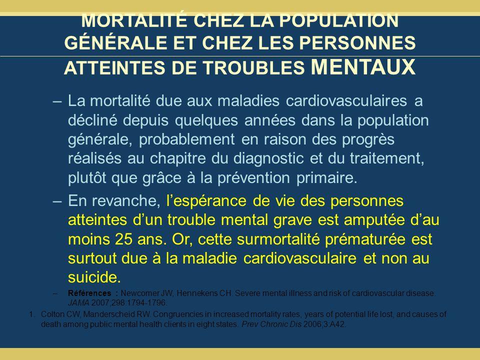 MORTALITÉ CHEZ LA POPULATION GÉNÉRALE ET CHEZ LES PERSONNES ATTEINTES DE TROUBLES MENTAUX