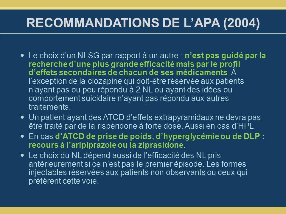 RECOMMANDATIONS DE L'APA (2004)