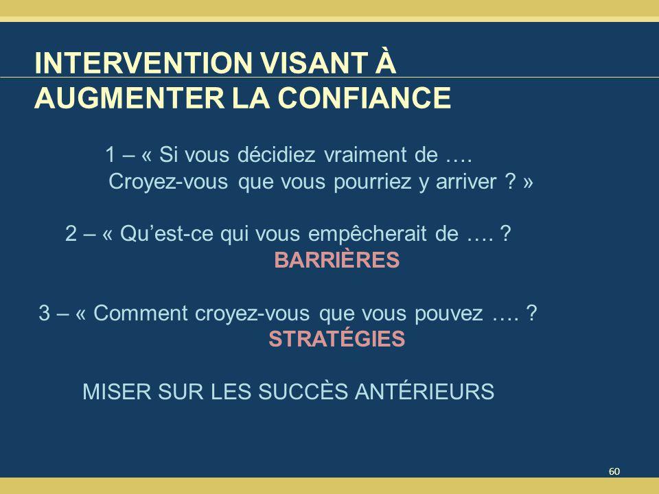 INTERVENTION VISANT À AUGMENTER LA CONFIANCE