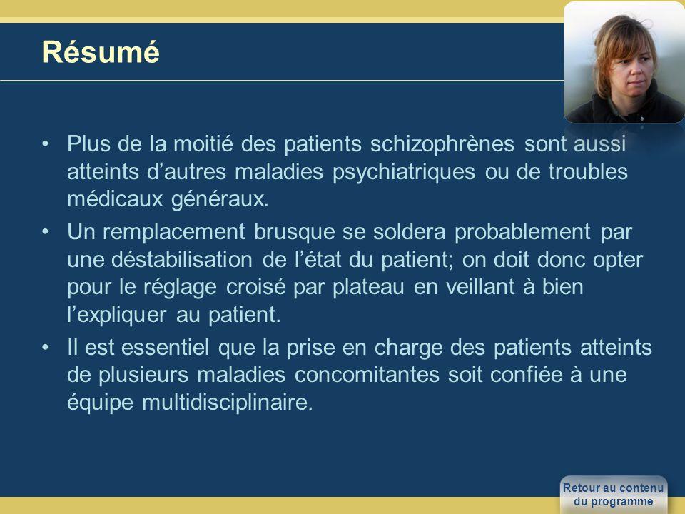 Résumé Plus de la moitié des patients schizophrènes sont aussi atteints d'autres maladies psychiatriques ou de troubles médicaux généraux.