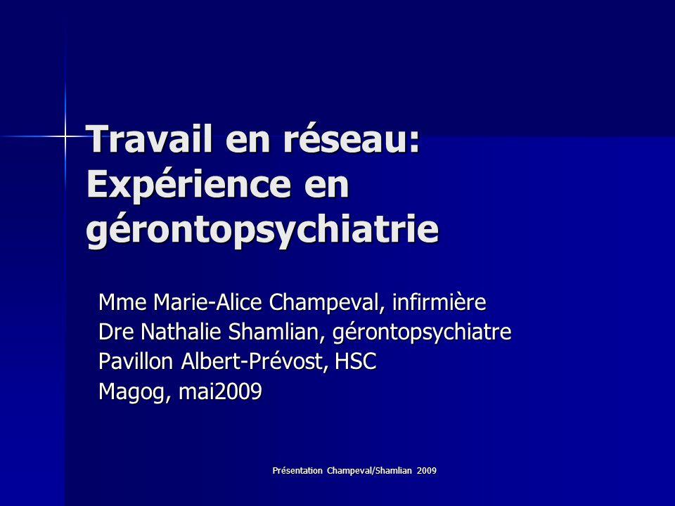 Travail en réseau: Expérience en gérontopsychiatrie
