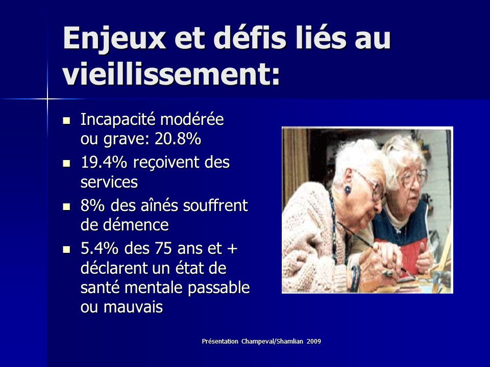 Enjeux et défis liés au vieillissement: