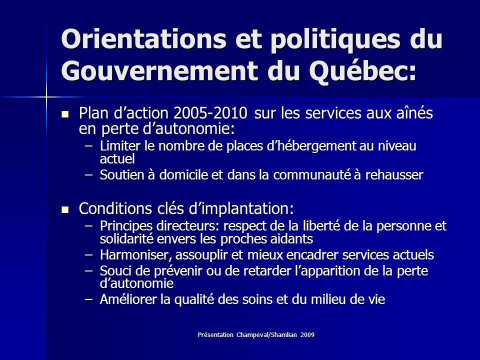 Orientations et politiques du Gouvernement du Québec: