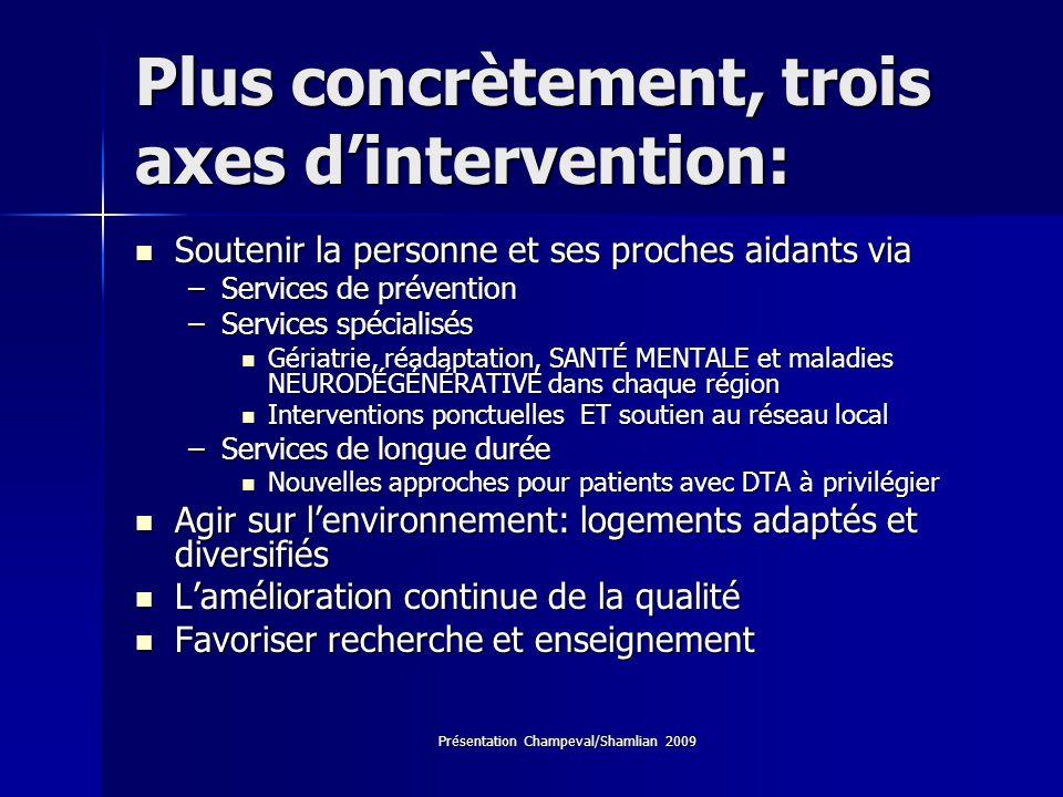 Plus concrètement, trois axes d'intervention: