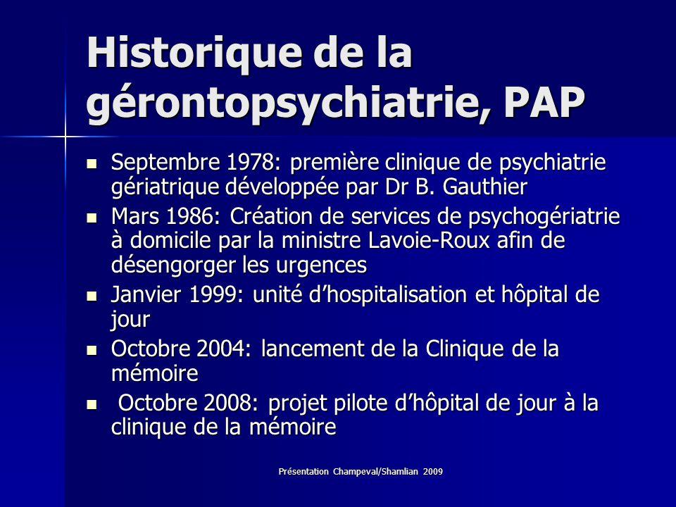 Historique de la gérontopsychiatrie, PAP