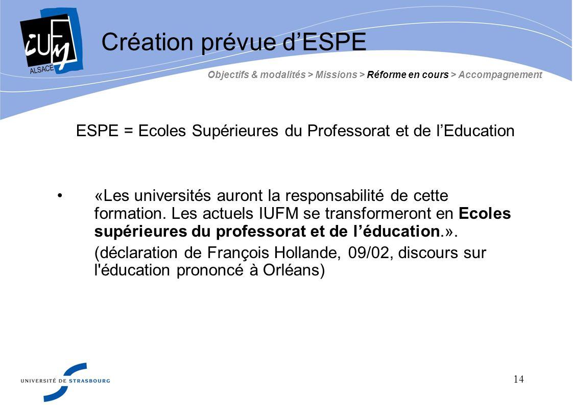 Création prévue d'ESPE