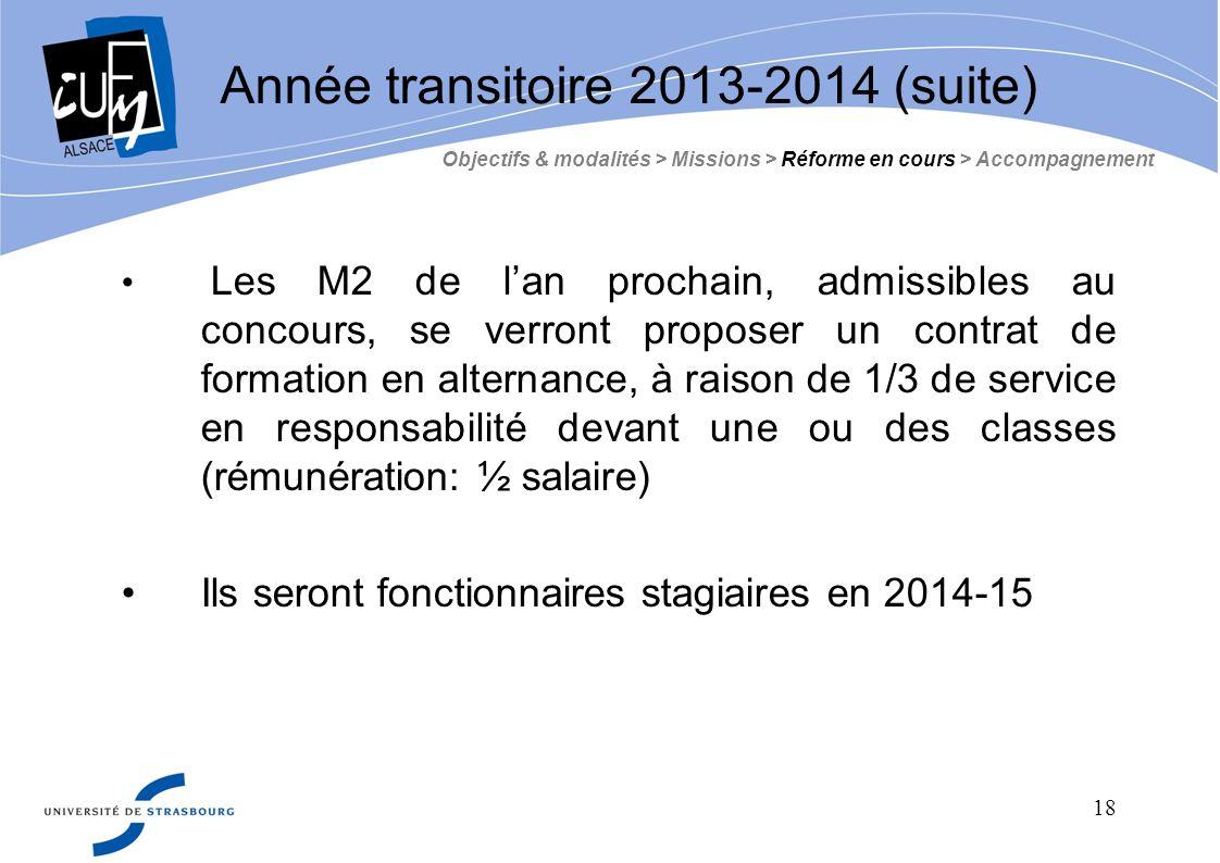 Année transitoire 2013-2014 (suite)