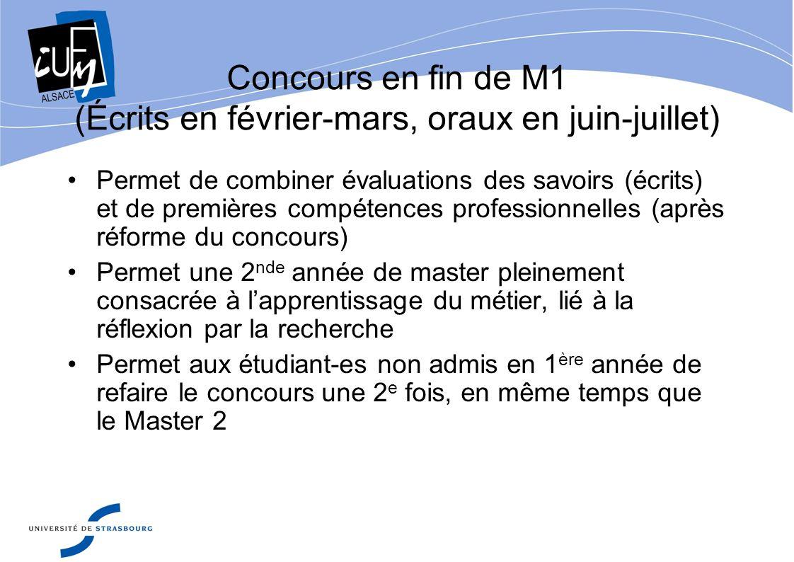 Concours en fin de M1 (Écrits en février-mars, oraux en juin-juillet)