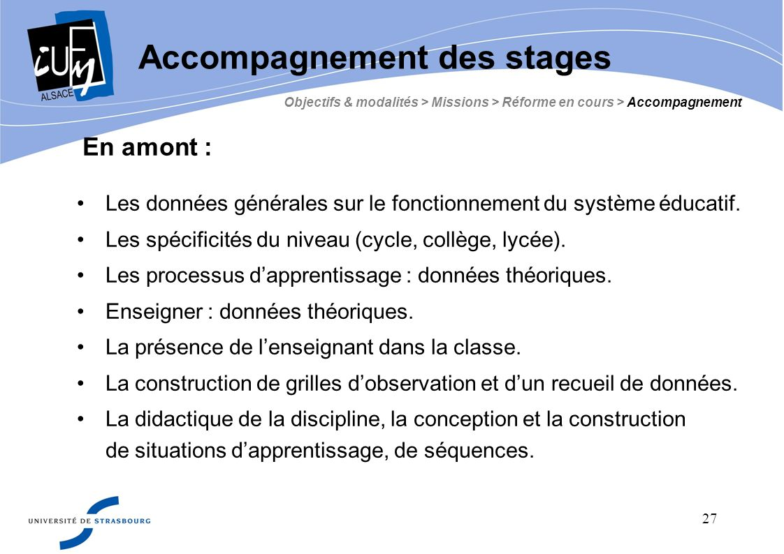 Accompagnement des stages