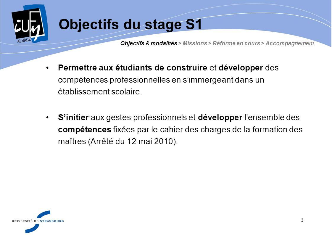 Objectifs du stage S1 Objectifs & modalités > Missions > Réforme en cours > Accompagnement.