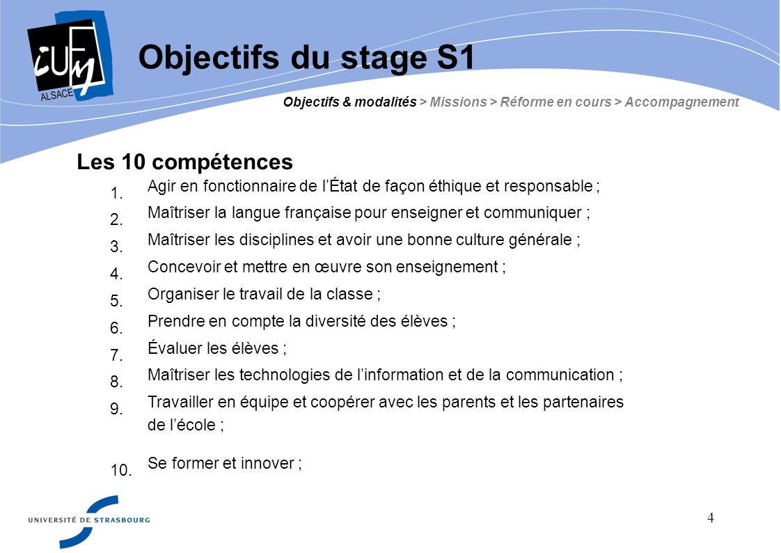 Objectifs du stage S1 Objectifs & modalités > Missions > Réforme en cours > Accompagnement. Les 10 compétences.