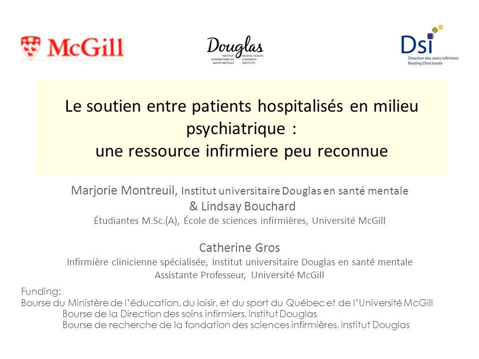 Le soutien entre patients hospitalisés en milieu psychiatrique : une ressource infirmiere peu reconnue